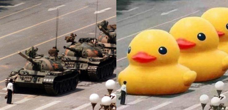Ces photos mythiques qui ont marqué l'histoire - Aujourd'hui, un homme se dresse seul face aux chars communistes.