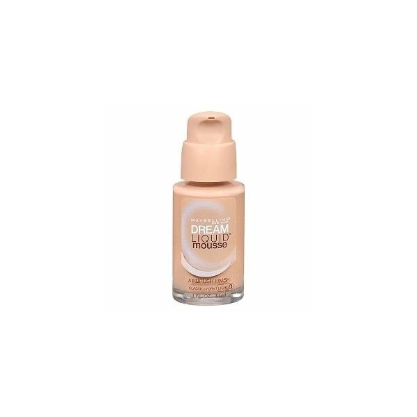Maybelline Dream Liquid Mousse Airbrush Finish, Classic Ivory (11 CAD) ❤ liked on Polyvore featuring beauty products, makeup, face makeup, misa, maybelline cosmetics, maybelline face makeup, maybelline, mousse makeup and maybelline makeup
