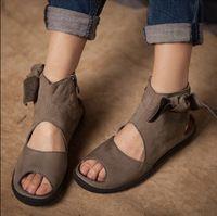 2016 новых мужчин сандалии старинные ручной женская обувь плоские каблуки удобные свободного покроя сандалии вырез в открытых носок обуви бесплатная доставка