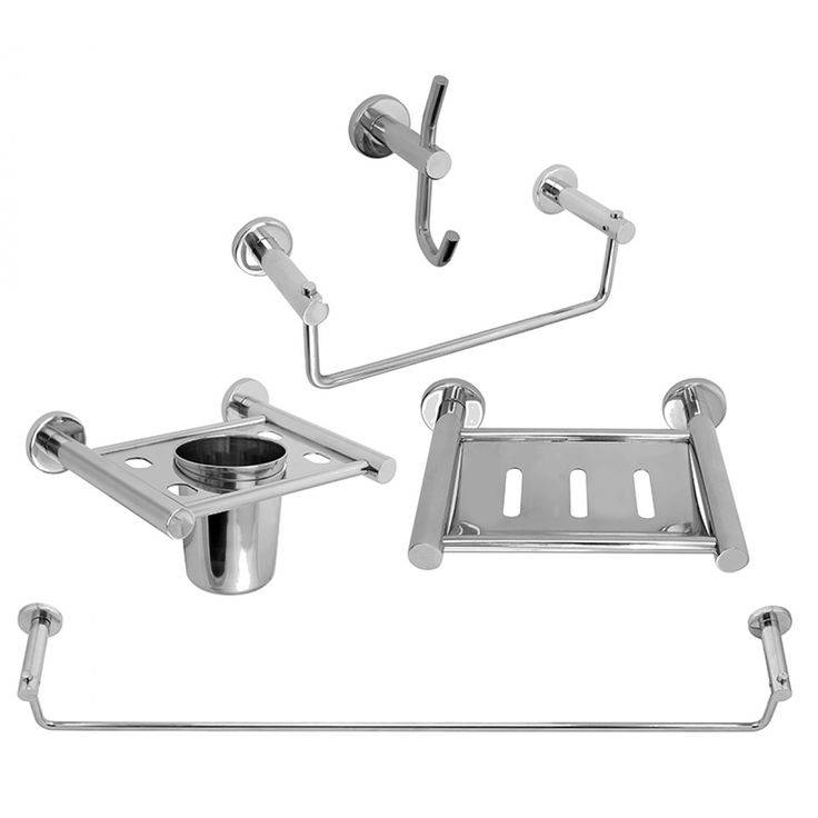 Klaxon Bath Set - Bathroom Accessories Set  - Platinum -  Steel  Klaxon Bath Set - Bathroom Accessories Set - Platinum - Steel  Rs. 1,575.00