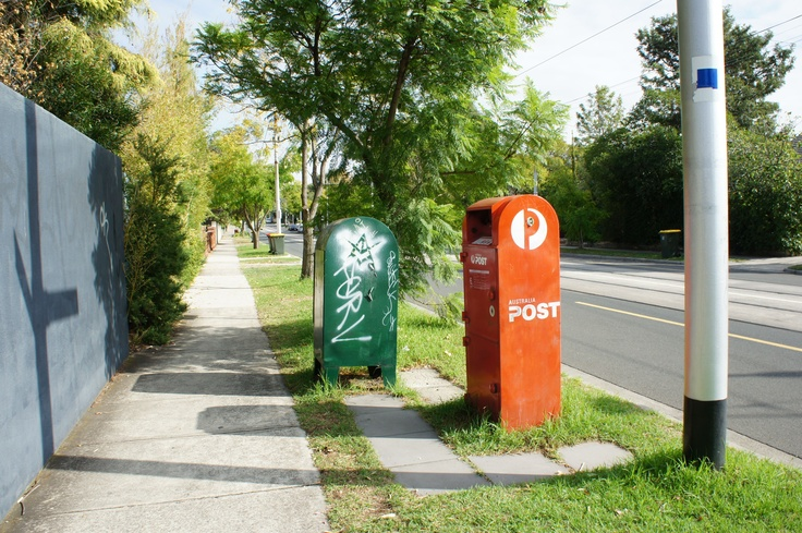 "Post Box and ""Street Art"" Balaclava Road, Caulfield North on corner of Aroona Road. (photo by Victor Perton)"