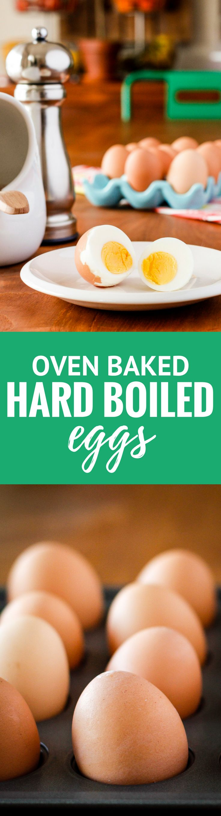 Oven Baked Hard Boiled Eggs -- Have you ever tried making baked hard boiled eggs? Baking your eggs in the oven is seriously the easiest method for perfectly cooked hard boiled eggs every time! Makes big batches a cinch… | hard boiled eggs in oven | how to bake hard boiled eggs | meal prep recipes | clean eating recipes | 21 day fix recipes | paleo recipes | whole30 recipes | find the recipe on unsophisticook.com