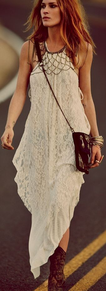 #street #style #spring #2016 #inspiration | Cream boho maxi dress, purse, statement necklace, cowboy boots, accessories
