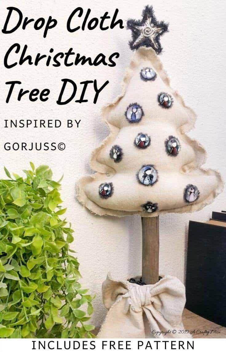 DIY DROP CLOTH CHRISTMAS TREE WITH GORJUSS BAUBLES DIY