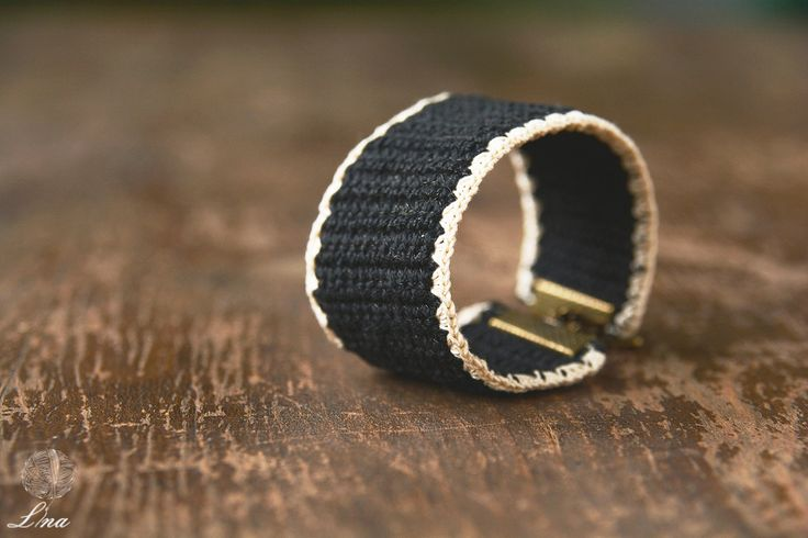 Handcrafted Black Cuff Bracelet Decorated with Cream Slender Edges