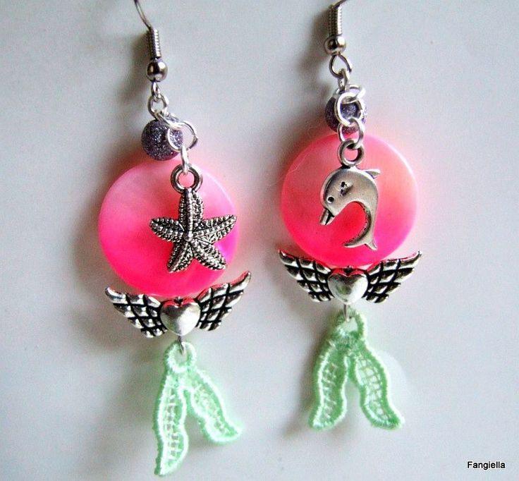 Boucles d'oreilles rose et vert nacre aile d'ange coeur dauphin étoile de mer : Boucles d'oreille par fangiella1