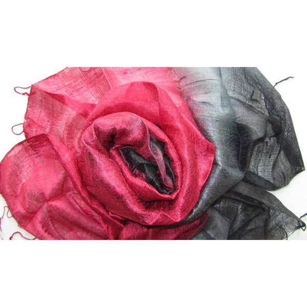 Silk Shawl Red Black Handwoven Silk Accessories Wedding Shawl Pure Raw Silk Hand Dyed Bridesmaid Gift For Her Handmade Accessories Thai Silk (€20) found on Polyvore featuring women's fashion, accessories, scarves, silk shawl red black handwoven silk accessories wedding shawl, red shawl, red silk scarves, lightweight scarves, silk scarves and shawl scarves