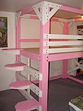 We're thinking loft for Mia & Adi's room with just enough space underneath to store toys.  This looks good!
