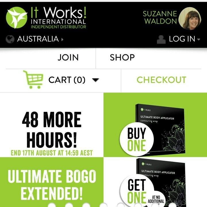 8 wraps for the price of 4!! www.suzannewaldon.itworksau.com
