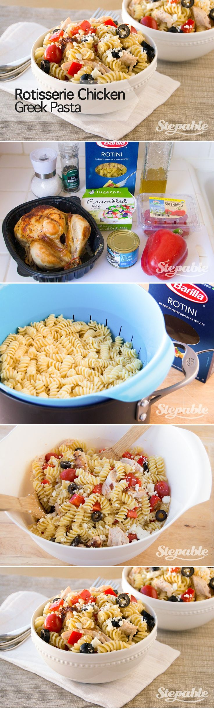 Rotisserie Chicken Greek Pasta in about 15 minutes with store-bought rotisserie chicken @stepable #recipes #dinner