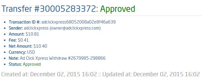 I am getting paid daily at ACX and here is proof of my latest withdrawal. This is not a scam and I love making money online with Ad Click Xpress.  From STPay member: adclickxpress Transaction Number: 30005283372 Amount: $10.81 Currency: USD Note (if provided): Ad Click Xpress Withdraw #2679985-298866 Transaction Fees: $0.41  Join now: www.adclickxpress.is/?r=goki_mkd