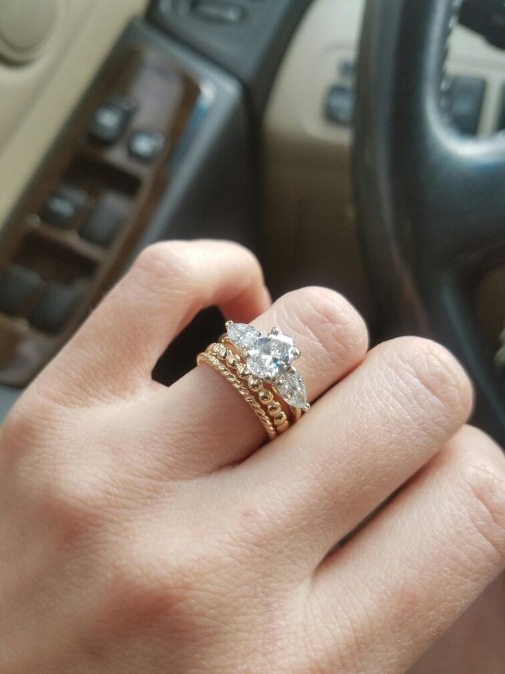 My Yellow Gold Stacked Wedding Bands Amp 3 Stone Oval And