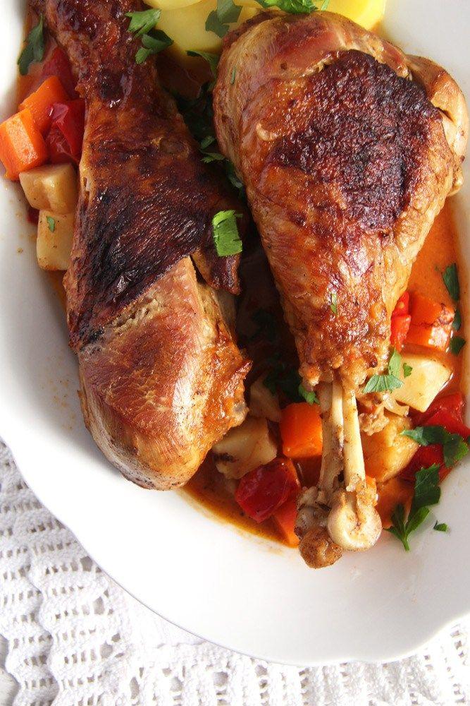 turkey legs vegetables Oven Roasted Turkey Drumsticks Recipe with Vegetables