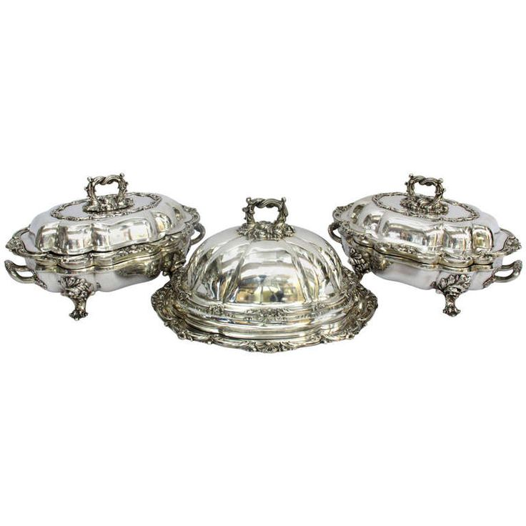 Sheffield Silver Plate 3 Piece Entrée and Venison Service | From a unique collection of vintage more silver, flatware and silverplate at http://www.1stdibs.com/jewelry/silver-flatware-silverplate/more-silver-flatware-silverplate/
