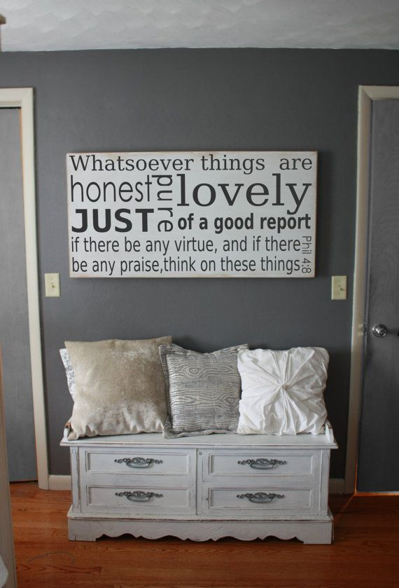 24x48 Whatsoever things are Philippians 4:8 Wood Sign Home décor Love Handpainted  by SaltedWordsCompany