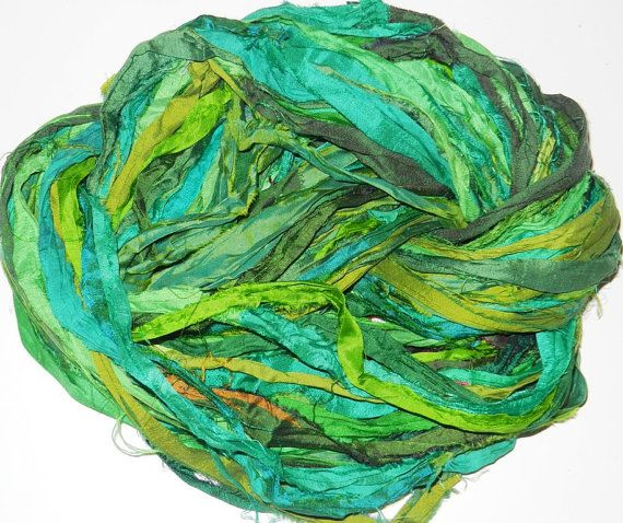 100g Recycled Sari Silk Ribbon Yarn multi 65 yards  by JuliaLCraft, $10.50