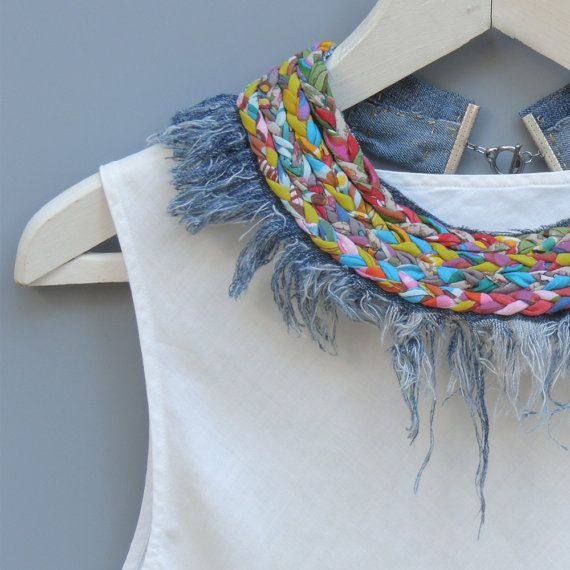 Statement Collar Necklace Denim Necklace Fabric Necklace