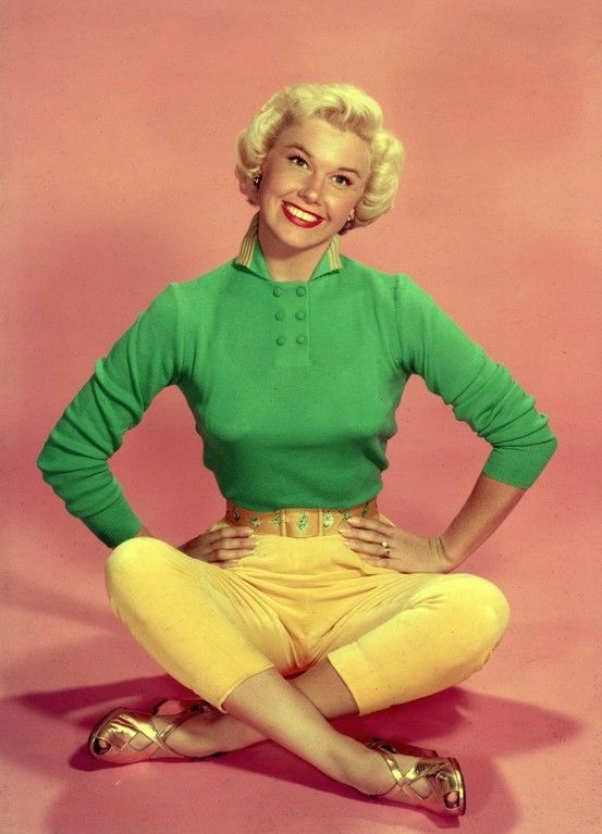 Doris Day, iconic beauty choice of Stemology user Terry Myers. | beauty icon | old hollywood | hollywood golden age | celebrity beauty | green sweater | yellow pants