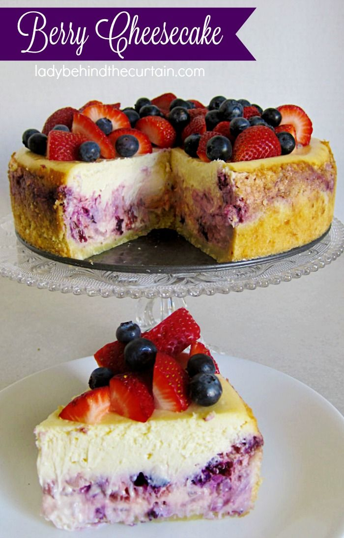 Berry Cheesecake This cheesecake starts with a cookie crust, then a layer of freshly crushed fruit mixed with cheesecake batter, and another layer of cheesecake batter all topped with fresh berries.