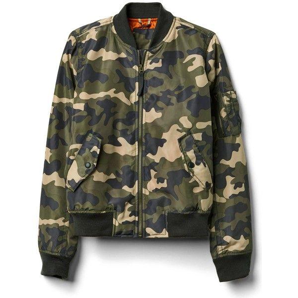 Gap Women Nylon Camo Bomber Jacket ($90) ❤ liked on Polyvore featuring outerwear, jackets, camo print, regular, flight jacket, long sleeve jacket, camo jacket, bomber style jacket and camoflage jacket
