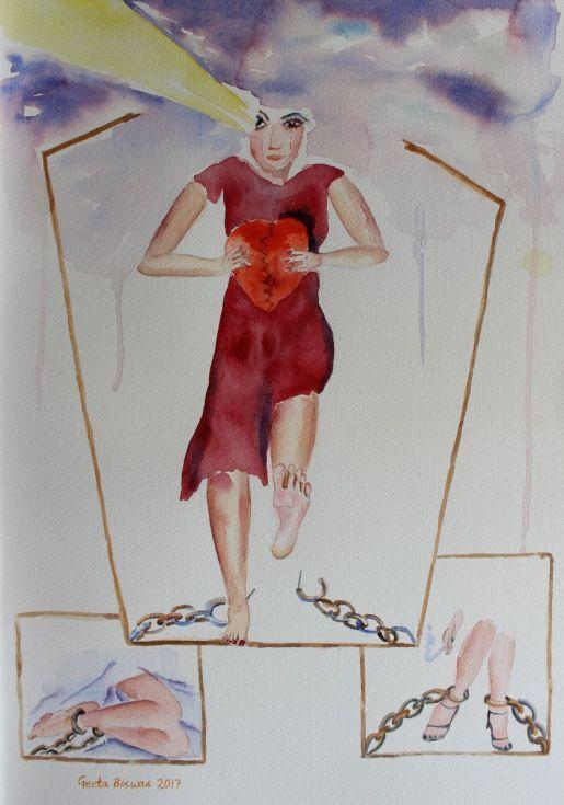 Buy Breaking Free, watercolor concept art, Watercolor by Geeta Biswas on Artfinder. #conceptart #geetabiswas #internationalwomensday #womensday #heart #brokenheart #contemporaryart #originalart #freedom #cuffs #watercolor