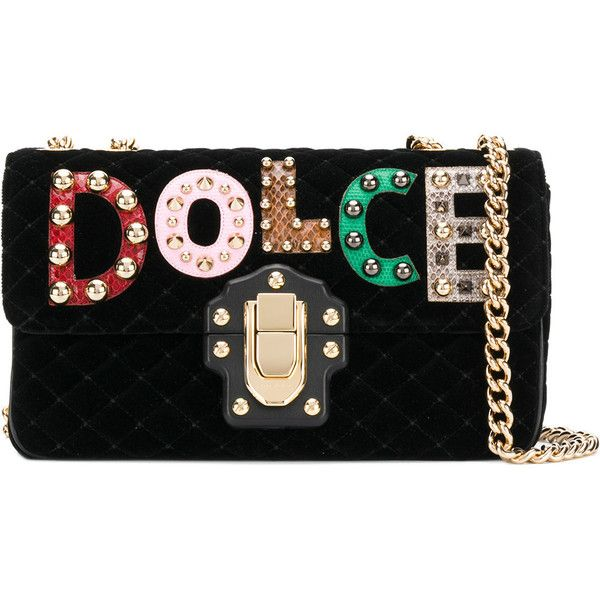 Dolce & Gabbana patched Lucia bag ($2,675) ❤ liked on Polyvore featuring bags, handbags, shoulder bags, black, chain shoulder bag, leather handbags, leopard print purse, leopard print handbag and studded leather purse
