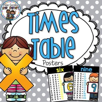 Times Table Posters by Miss Jacobs' Little Learners | Teachers Pay Teachers