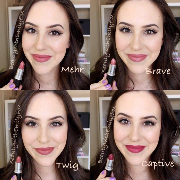Mac Lipsticks Lip Swatches - Mehr, Brave, Twig and Captive