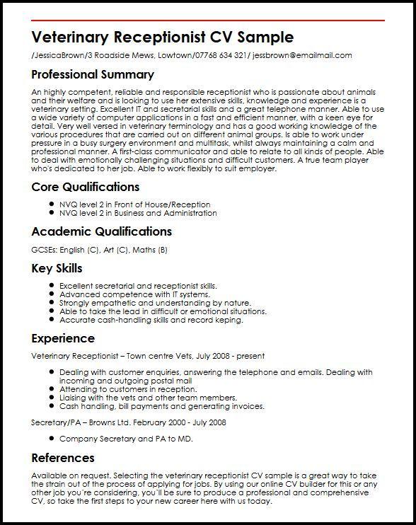 Resume Examples Veterinary Receptionist Veterinary Receptionist Resume Examples Job Resume