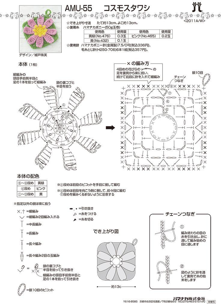 니뜨(knitt) [(무료도안) 꽃모티브 수세미 2]  도안출처 : 하마나카 재팬