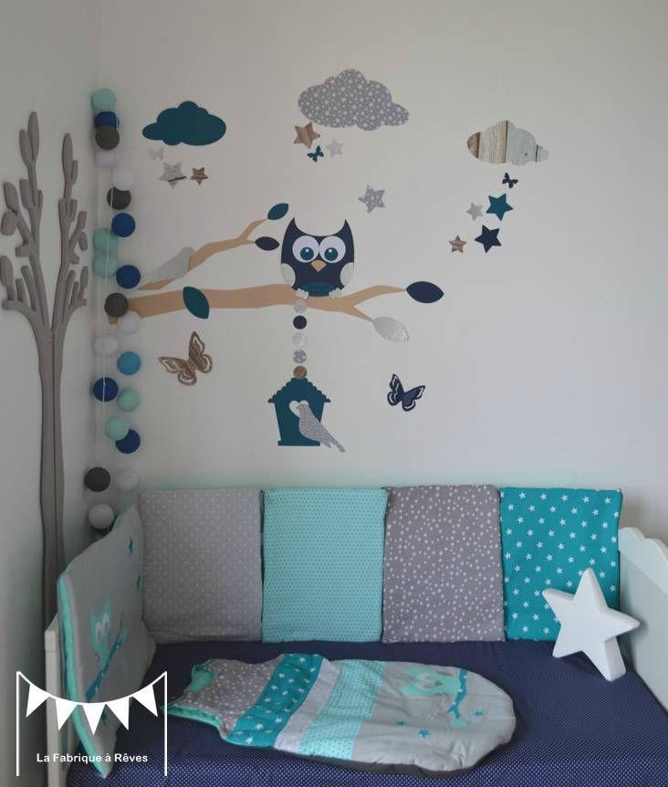 Gigoteuse turbulette tour de lit hibou toiles gris - Deco chambre turquoise gris ...