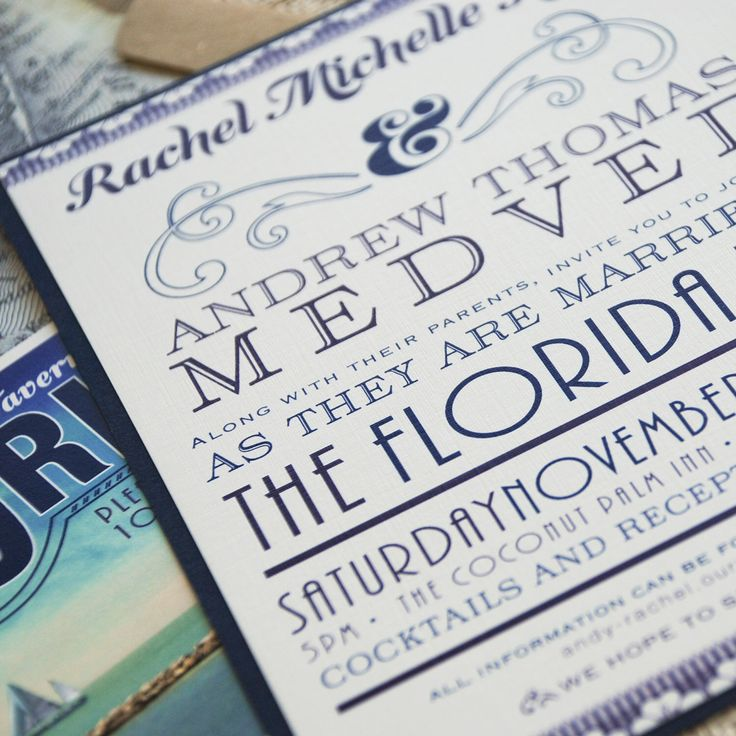 Vintage Florida Typography Wedding Invitation (Florida Keys) - Design Fee by beyonddesign on Etsy https://www.etsy.com/listing/115142709/vintage-florida-typography-wedding