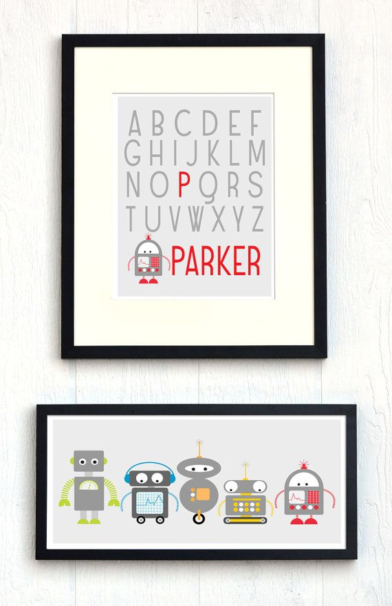 Robot Nursery Art Set  10x20 and 11x14  FREE by HowIWonderShop, $39.95
