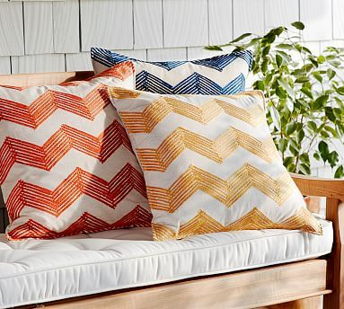 "A classic zigzag design anchors an arrangement of pillows and gives it definition. Our pillow cover is embroidered with detailed stitching for added texture and depth.   •18"" square •Made of cotton. •Polyester embroidery. •Reverses to solid. •Zip closure."