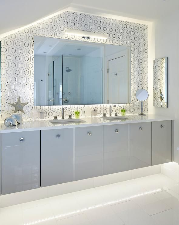 Stunning Gray And White Bathroom Boasts An Underlit