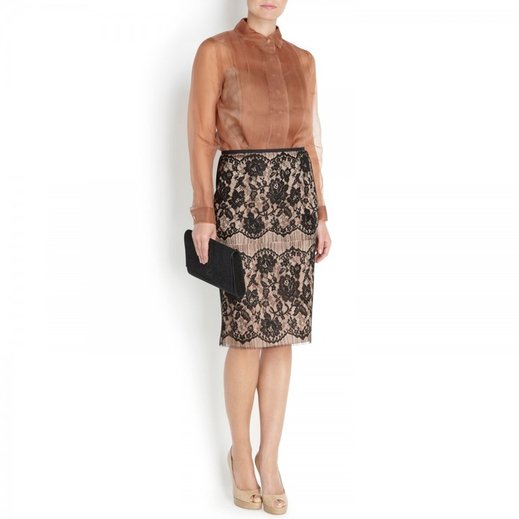Lace and washed satin skirt, Knee length, Harvey Nichols Store View