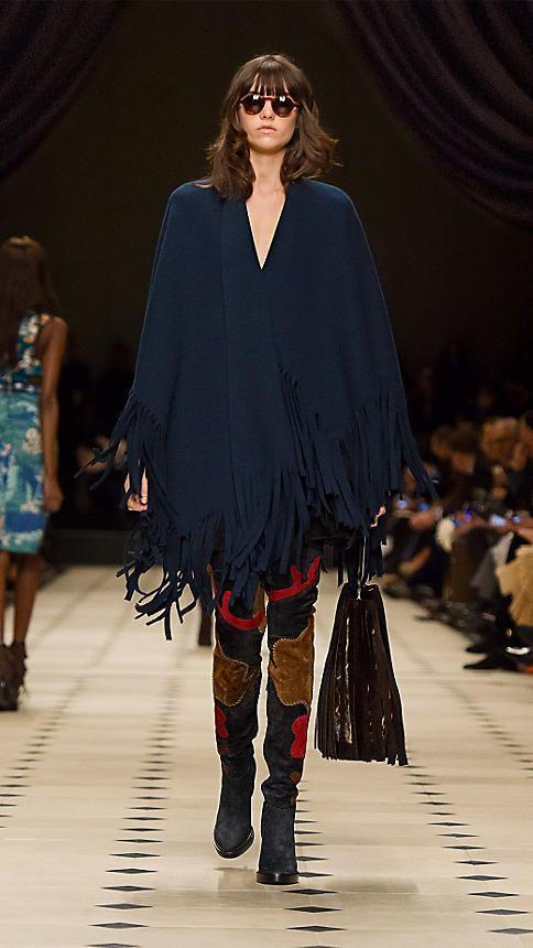 Sea blue Fringed Felted Wool Cashmere Poncho - Image 5
