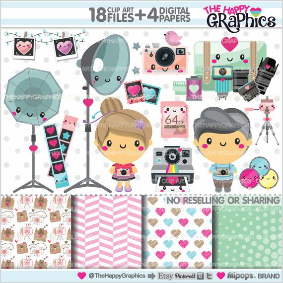 Photography Clipart, Photography Graphics, COMMERCIAL USE, Kawaii Clipart, Photography Stuff, Planner Accessories, Photography Supplies