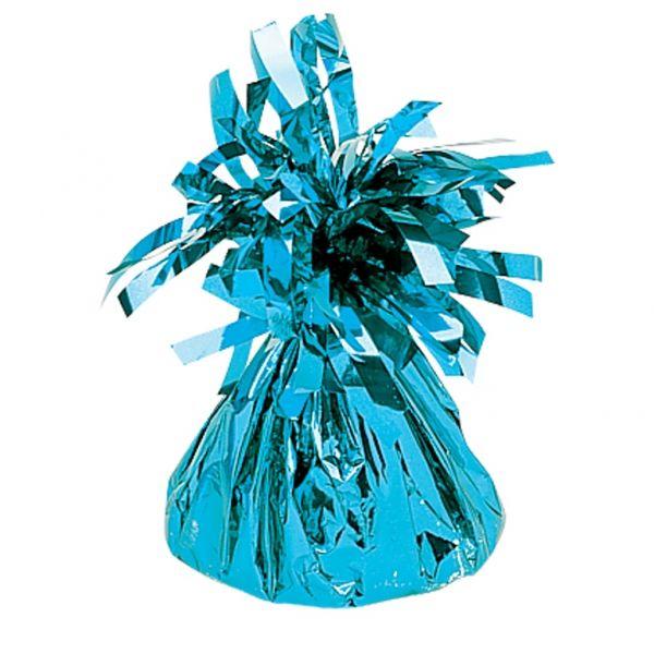 Ciężarek do balonów foliowy w kolorze błękitnym. Doskonale przytrzymuje balony wypełnione helem.