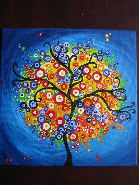 ❤~ Árbol de la Vida~❤ painting art tree of life circles bright colorful happy wall gift  present trees original bright colourful colorful fantasy modern via Etsy