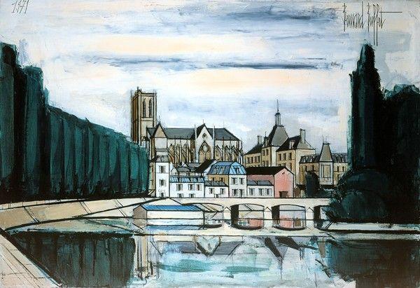 Bernard Buffet - Meaux, la Marne, la cathedrale et l'Hotel de Ville - 1971, oil on canvas - 89 x 130 cm