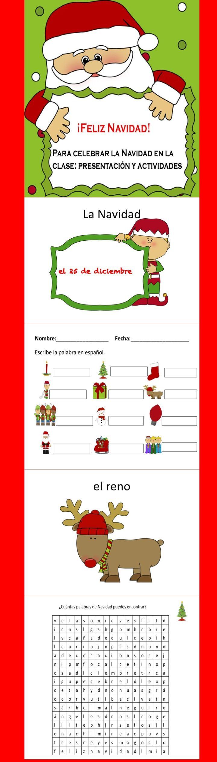 Para celebrar Navidad en la clase. Presentation and student activities bundle!