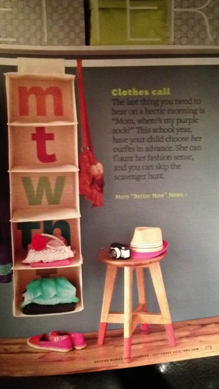 How to Organize clothes for the week for kids! Love this idea for when she's older!!