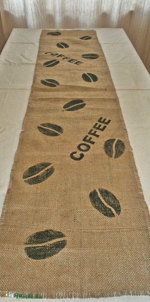 Kávés zsákvászon futó Coffee felirattal, fekete (agravintage) - Meska.hu