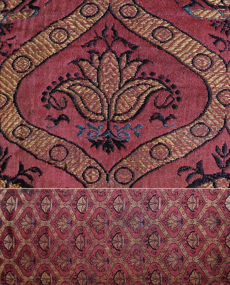 "Antique Persian Textile. Silk Brocade with Ogive and Conventionalized Flower DesignSafavi Dynasty  1501-1722 A.D.  Circa 1650 . Size 26"" x 10"", 66 x 25cm"