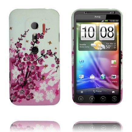 Symphony (Valkoinen - Vaaleanpunainen Kukka) HTC Evo 3D Silikonisuojus