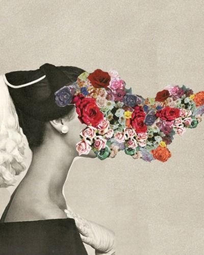 woman with flower's face