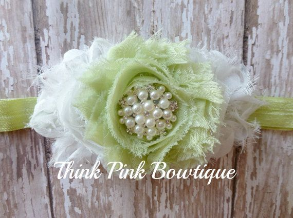 Green and White headband, baby headband, flower headband, headband, shabby chic roses headband.