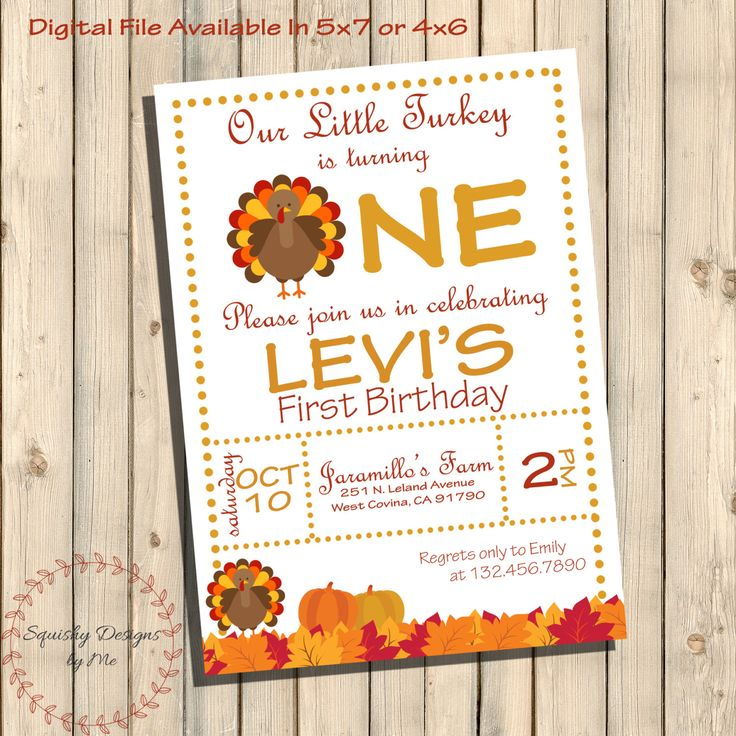 Our Little Turkey Is Turning One Birthday Invitation, Thanksgiving Turkey Birthday Party Invites, Fall Harvest, First Birthday Printable by SquishyDesignsbyMe on Etsy