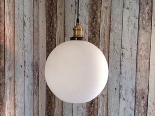 Mr Ralph - Glass Cafe Pendant - Milky white, Pendants 30 cm diameter $159
